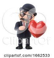 Poster, Art Print Of 3d Bowler Hatted British Businessman Is In Love