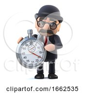 3d Bowler Hatted British Businessman With A Stopwatch