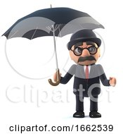 3d Bowler Hatted British Businessman Shelters Under An Umbrella