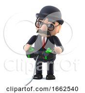 3d Bowler Hatted British Businessman Playing A Videogame