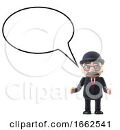 3d Bowler Hatted British Businessman With A Speech Bubble
