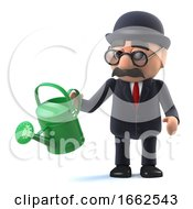3d Bowler Hatted British Businessman Is Using A Watering Can