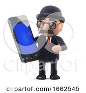 3d Bowler Hatted British Businessman Has A New Tablet Phone Device