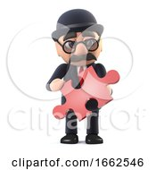 Poster, Art Print Of 3d Bowler Hatted British Businessman Has A Piece Of The Puzzle