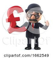 3d Bowler Hatted British Businessman Has UK Pounds Sterling Currency Symbol