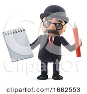 3d Bowler Hatted British Businessman Has A Notepad And Pencil