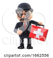 3d Bowler Hatted British Businessman Brings First Aid Kit
