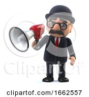 3d Bowler Hatted British Businessman Using A Megaphone