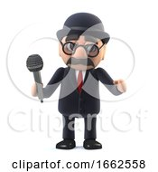 3d Bowler Hatted British Businessman Sings Into The Microphone by Steve Young