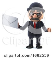 3d Bowler Hatted British Businessman Has Mail