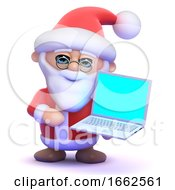 3d Santa Using A Laptop Pc by Steve Young