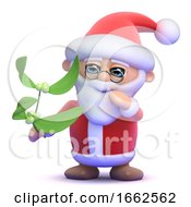 3d Santa Has Some Mistletoe by Steve Young