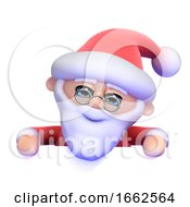 3d Santa Looks Over The Top Of Blank Space by Steve Young