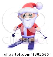 3d Santa On Skis by Steve Young