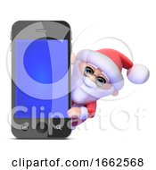 3d Santa Hides Behind A Smartphone by Steve Young