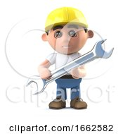 3d Construction Worker Holding A Spanner