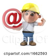Poster, Art Print Of 3d Construction Worker Has An Email Address