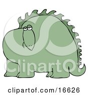 Big Green Dinosaur With Spikes Along His Back Looking At The Viewer With A Bored Or Sad Expression Clipart Image Graphic by djart