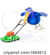 Poster, Art Print Of 3d Bluebird Mows The Lawn
