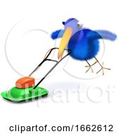 3d Bluebird Mows The Lawn by Steve Young
