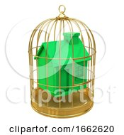 3d Green House In A Golden Cage