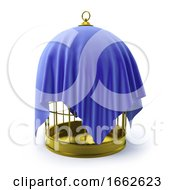 3d Birdcage Draped In Blue Cloth