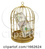 3d US Dollars In Gold Birdcage
