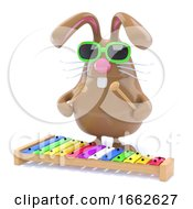 3d Easter Bunny Plays Xylophone