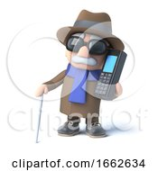 Poster, Art Print Of 3d Blind Man Chats On A Cellphone