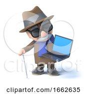 Poster, Art Print Of 3d Blind Man Has A Laptop Pc