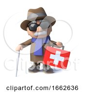 Poster, Art Print Of 3d Cartoon Blind Man Character Comes To The Rescue With A First Aid Kit