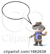Poster, Art Print Of 3d Blind Man With An Empty Speech Bubble