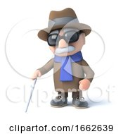 Poster, Art Print Of 3d Blind Man Walking With A Cane