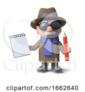 Poster, Art Print Of 3d Funny Cartoon Old Man Character Takes Notes With Pad And Pencil