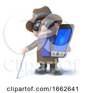Poster, Art Print Of 3d Blind Man Holding A Smartphone