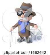 3d Blind Man Holding An Empty Shopping Basket