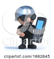 Poster, Art Print Of 3d Biker Chats On A Mobile Phone