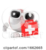 3d Baseball Character With A First Aid Kit