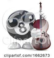 3d Funny Cartoon 8 Ball Character Playing A Double Bass
