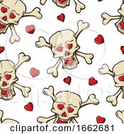 Poster, Art Print Of Skull And Crossbones With Hearts Pattern