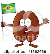 Cartoon Coffee Bean Mascot Holding A Brazilian Flag