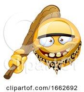 Poster, Art Print Of Yellow Smiley Emoji Emoticon Caveman Holding A Club