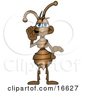 Clipart Picture Of An Ant Bug Mascot Cartoon Character Holding His Hand Up To His Face And Whispering by Toons4Biz