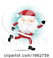Running Santa Claus Over Blue