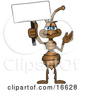 Clipart Picture Of An Ant Bug Mascot Cartoon Character Holding Up A Blank White Advertising Sign by Toons4Biz