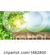 3D Wooden Table And Leaves Against A Defocussed Landscape Background