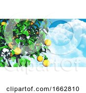 3D Fruit Tree Against Blue Sky