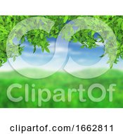 3D Grassy Landscape With Green Leaves