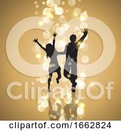 Poster, Art Print Of Party Couple On Gold Bokeh Lights Background