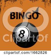 Bingo Halloween Grunge Background And Black Ball